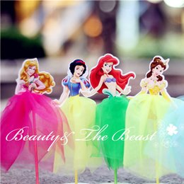 7.2 '' Princesa Snow White Ariel Cinderella Cupcake Toppers Artículos para fiestas Decoración para fiestas de cumpleaños Kids baby shower 12pcs desde magdalena de bienvenida al bebé de la princesa proveedores