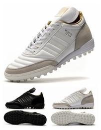 Wholesale 2017 Black White Mundial Team Modern Craft TF Soccer Shoes Men Mundial Team Turf Mundial Team Astro Soccer Football Boots Cleats