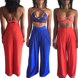 Wholesale Sexy Legging Outfits - Sexy Women Two Pieces Set Lace Bra Wide Leg Pants Blue Red Bandage Jumpsuit Outfit Hot Casual Party Bodycon Jumpsuits OS121 Free Shipping