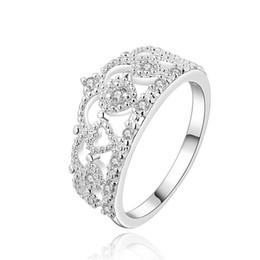 Descuento piedras preciosas conjunto de plata de ley Anillo de bodas de plata esterlina anillo de dedo anillo de bodas mujeres, la boda de piedras preciosas blancas 925 anillos de plata Solitaire Anillo Anillos de boda ER469