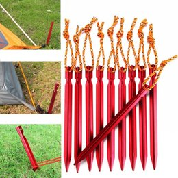 Aluminum Tent Stakes with Reflective Rope, Outdoor Camping Tents Nail Enhanced Triangular Nail 18cm With Rope V-shaped Nail
