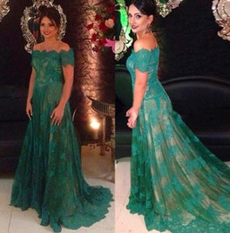 2018 New Green Off Shoulders Evening Dresses Lace Long A line Special Occasion Short Sleeve Court Train Party Maxi Celebrity Dresses BA6635