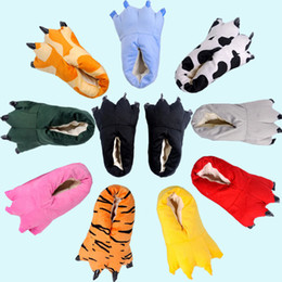 Wholesale News Animal cartoon cotton shoes super soft fabric PU bottom household slippers dinosaur claws