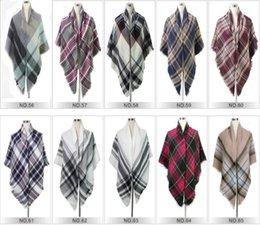 Wholesale Women Grid Scarves Tartan Plaid Scarf Oversized Check Shawl Lattice Cozy Wraps Fashion Fringed Cashmere Blankets Tassel Pashmina Gif T1526