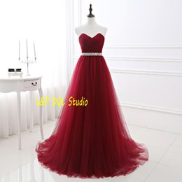 Canada Robes de soirée rouge à vin Train de balayage Plis de tulle avec des sparaches Sparking Au long de la taille Robes de bal longues Robes de partie Backless Real Pictures pictures long red evening dresses deals Offre