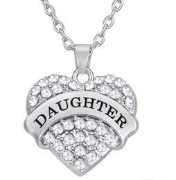 New Arrival Hot Selling rhodium plated zinc studded with sparkling crystals DAUGHTER heart pendant link chain necklace