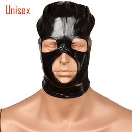 2017 mask play sex Negro BDSM Sex head masks capucha máscara de esclavos sm reproductor de ojos abiertos productos para adultos para parejas lingerie role play Juguetes sexuales Flirting mask play sex baratos