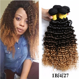 Promotion 27 bouclés ombre # 1B 4 27 Honey Blonde Ombre Virgin Hair 3 Bundles Peruvian Kinky Curly Ombre Human Hair Weaves Extensions 3Pcs Deep Curly Hair Weave