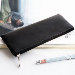 New Simple Solid Color Pencil Case for School and Office Cortex Supplies Stationery Pen Case Pencil Bag pu leather bag classic black