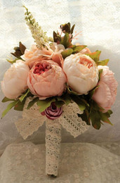 Wholesale Peony Artificial Wedding Bouquets Different Colors Hand Made Wedding Suppliers Bridal Bouquet Real Picture