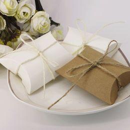 Wholesale 100pcs Good Kraft Paper Pillow favor Box Wedding Party Favor Candy Boxes Christmas Gift Boxes New