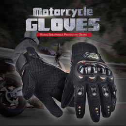 Wholesale NEW PRO Motorcycle Gloves Full Finger Protective Gear Black Carbon Fiber Bike Motorbike Racing Motocross Gloves Moto Luvas