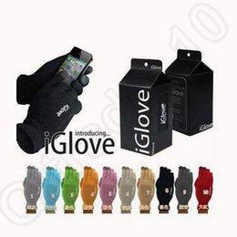 Promotion écran tactile pour samsung 10 couleurs iGlove gants de sport écran tactile pour hiver chaud pour iphone Pour Samsung téléphone intelligent capacitif avec boîte de détail CCA5320 100pair