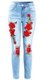 New Plus Size Stretchy Ripped Jeans With Scuffs 3D Embroidery Flowers Woman Denim Pants Trousers For Women Jeans
