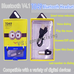 Wholesale JablueT049 Smart Mini Bluetooth Headset Voice Prompt Play Music Answer Calls Last Number Re dialing Power Display Super Bluetooth Signal
