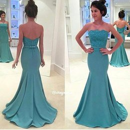 Wholesale Silver Blue Silk Evening Dress - 2017 New Elegant Mermaid Lace Prom Dresses Sexy Strapless Lace Top With Sash Button Covered Back Long Sweep Train Evening Dresses