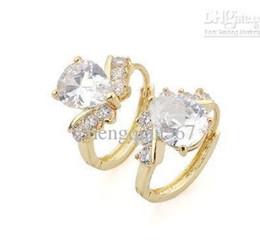 Women's 18k real yellow gold filled hoop earrings