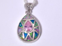 Wholesale & Retail Fashion Jewelry Fine Pink Fire Opal Stone Silver Plated Pendants For Women BJL1631001