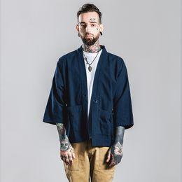 Wholesale Japan Hong Kong style fashion brand kimono man sleeve shirt cotton cardigan wide sleeve loose casual tshirt
