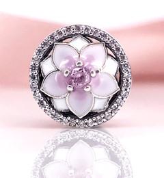 Authentic 925 Sterling Silver Magnolia Bloom, Pale Cerise Enamel & Pink CZ CHARM Fit DIY Pandora Bracelet And Necklace 792085PCZ
