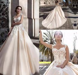 2017 vintage Saudi Arabic 3D-floral Appliques A-line Wedding Dresses Flowers Button Back Chapel Train Elegant Bridal Gowns Vestios De Novia