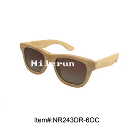 fashion unisex women men bamboo sunglasses with gradient brown lens and metal decorating pins
