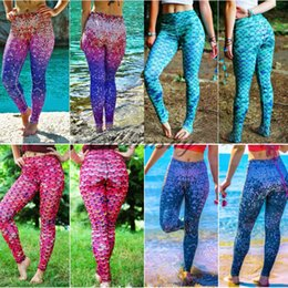 Wholesale Spandex Tight Pants Sexy Women - 6 color Fashion Fish Scale Women Yoga Leggings Glowing Mermaid Gym Training Tight High Waist Sports Running pants Sexy Slimming pant M575