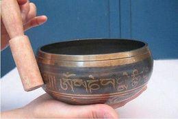 90mm Tibetan Singing Tibetan Buddhism Copper Out Hum Singing Bowls Antique Garden Decoration 100% Real Tibetan Silver Brass Singing Bowl