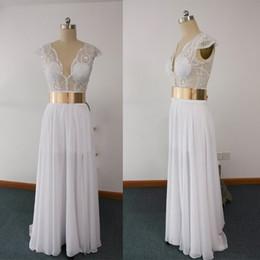 2016 Real Images Sheer Wedding Dresses V Neck Pearls With Gold Belt Chiffon Floor-Length Bridal Dresses dhyz 01
