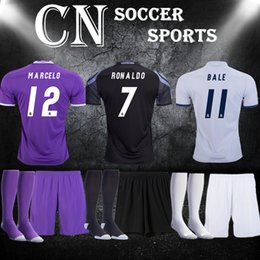 Wholesale 16 Real Madrid kits socks RONALDO short sleeve football uniforms JAMES BALE BENZEMA MODRIC soccer sets designer sports jerseys