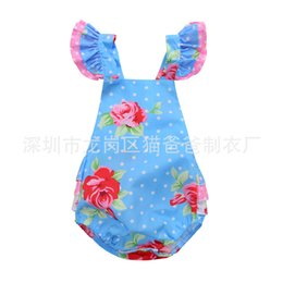 INS hot 2017 Baby girl kids toddler Summer Blue Rose floral Romper Onesies Strap Jumpsuits Lace Ruffles Fly Sleeve Sexy Back Bowknot