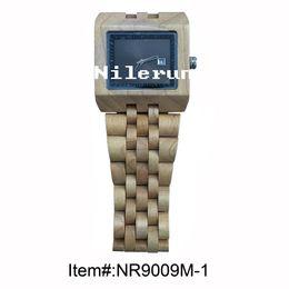 huge square light color wood watch