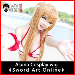 Perruques de haute qualité en ligne en Ligne-HSIU perruque de 100cm de long Sword Art perruque de cosplay en ligne Asuna Costume Play Perruques Halloween Party Anime Game Hair High Quality