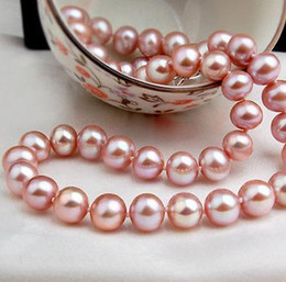 Gorgeous south sea 9-10mm purple Akoya pearl necklace 19 inch 14k gold clasp