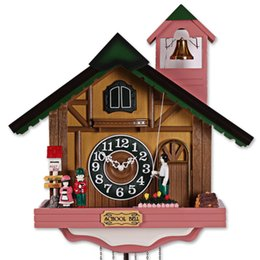 Wholesale Fashion House Shape wall clock rustic cuckoo clock photoswitchable music bell time clock and watch by EMS