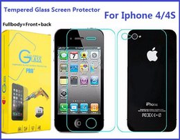 Acheter en ligne Écrans 4s-Pour Iphone 4S Fullbody Protecteur d'écran en verre trempé pour Iphone 7 Plus 6S 5S 9H Dureté 0.3mm Avant Retour Premium Toughened Film
