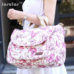 Wholesale Insular Cotton Floral Printing Baby Diaper Bag Mommy Bag Large Capaicty Nappy Bag With Feeding Bottle Pocket