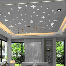 Wholesale 43pcs D Wall Stickers Twinkle Stars Mirror Wall Sticker Ceiling Decoration Decal DIY Mirror Effect Home Decor New