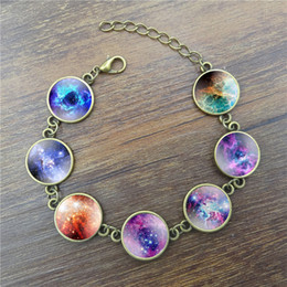 Wholesale Handcrafted Vintage Bracelet Galaxy Space Glass Cabochon Picture Fashion Jewelry Ancient Bronze Chain Link Bracelets for Women