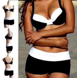 2017 nuevo sujetador atractivo del traje de baño del ocio de los tankinis de la playa de la manera del tamaño grande blanco y negro grande de la mujer gorda desde tankini negro proveedores