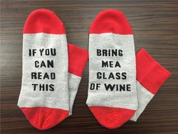 Wholesale If You can read this Bring Me a Glass of Wine Beer Lteer Print Stylish Cotton Socks Female Thermal Warm Christmas Socks