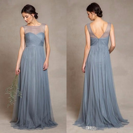 Elegant Dusty Blue Tulle Bridesmaid Dresses 2016 Illusion Bateau Neckline Pleats Bodice A Line Floor Length Prom Gowns
