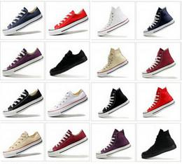 Altos tops hombres 45 en venta-Nuevos zapatos de lona de la lona de la Alto-Tapa de la Alto-Tapa de la Alto-Tapa clásica de la calidad Hombres / zapatos de lona de la lona de las mujeres Tamaño EU35-45 zapatos mujer chaussure femme