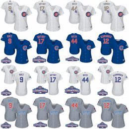 Wholesale Womens Chicago Cubs Kris Bryant Anthony Rizzo Javier Baez Kyle Schwarber Gold Program World Series Champions Baseball Jersey