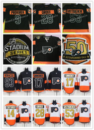 Promotion série de hockey Philadelphia Flyers 2017 Stadium Series Premier Jersey 50e anniversaire 17 Simmonds 53 Gostisbehere 9 Provorov 28 Giroux Hockey Jerseys
