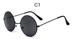 Wholesale New CURTAIN Nouvelle marque Designer Classic Lunettes de soleil ronde Homme Vintage Retro John Lennon Lunettes Femmes Driving Metal Eyewear LD032
