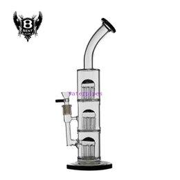 Bonnes bongs à vendre-Verre bong 13,87 pouces tuyaux d'eau 3 couches 8 bras perc bonne fonction joint de 14 mm avec bol en verre