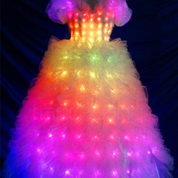 Vinaigrette en Ligne-YB022 Led Luminous Robe de Mariée LED Light Up Costume Scène pour Club Bar Robe de Mariée en Noël Robe Princesse LED Custome