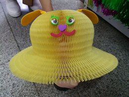 Animales de dibujos animados jarrón mágico sombreros de papel Sombrero plegable de bricolaje para las decoraciones del partido Gorras de papel divertido Viajes Sun sombreros Scenots panorámica de colores Spots desde escénico viaje fabricantes