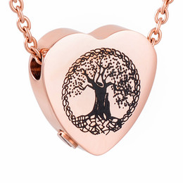 IJD9813 High Polish 316L Stainless Steel Cremation Pendant NecklaceTree of Life Heart Ashes Keepsake Urn Necklace